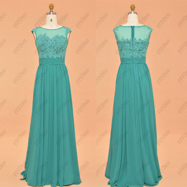 Modest lace jade bridesmaid dresses long