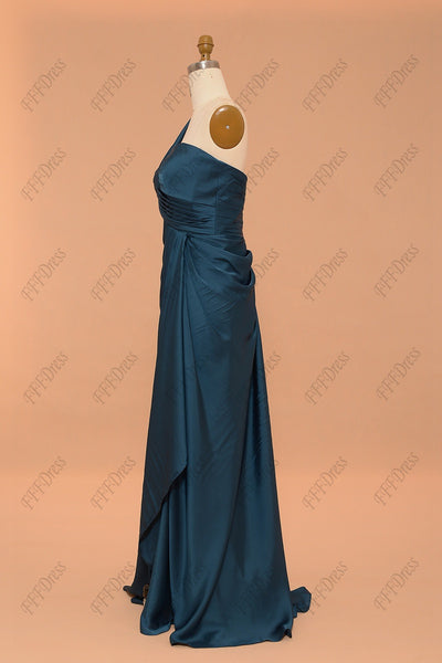 Teal Slim prom dress with slit evening dresses