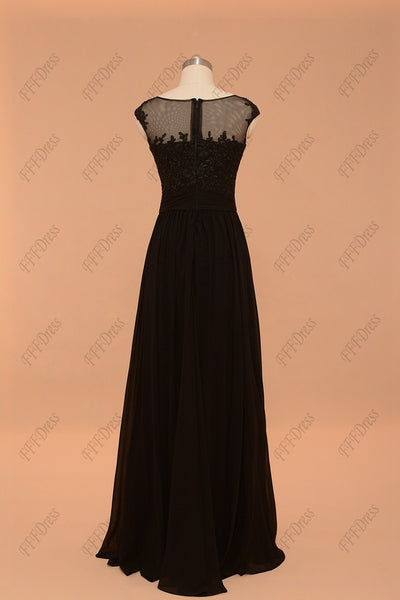 Black lace evening dresses plus size formal dresses cap sleeve