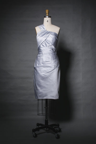 One shoulder silver bridesmaid dress knee length