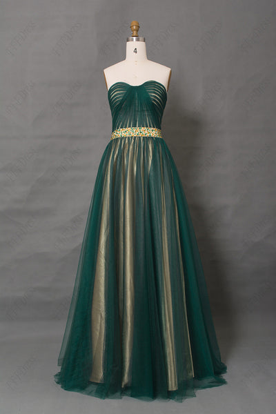 Two tone dark green evening dress beaded prom dresses