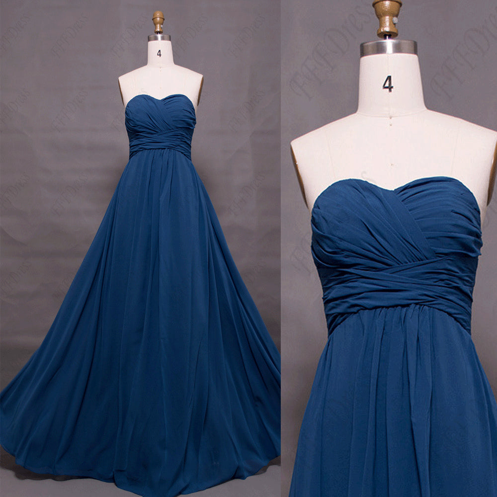 Sweetheart indigo blue bridesmaid dresses long