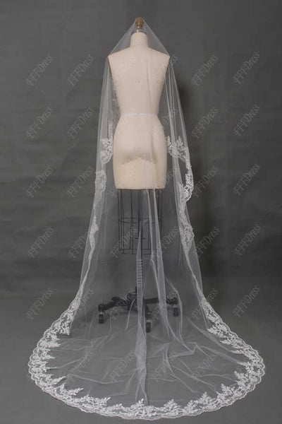 Ivory wedding veil with lace edge bridal veils 3 meters