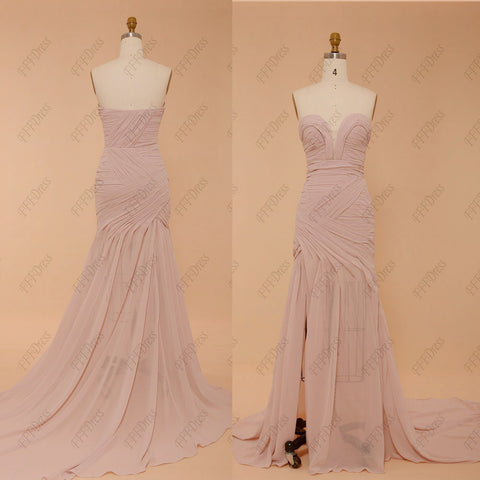 Pearl pink bridesmaid dress long maid of honor dress