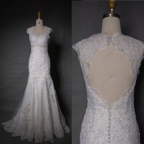 Mermaid beaded lace backless wedding dresses