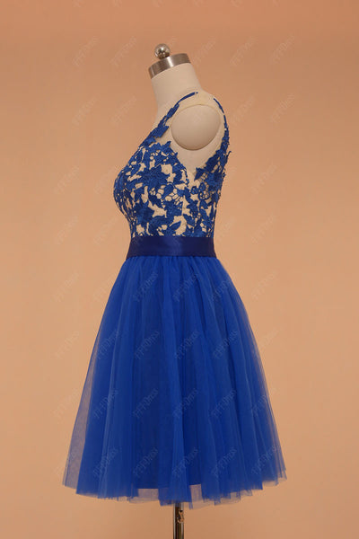 Royal Blue Lace Short Prom Dress with Sparkls