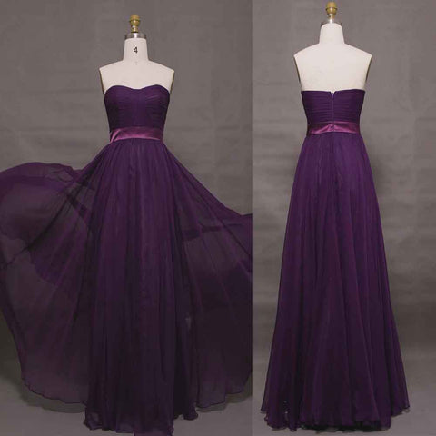 Purple elegant bridesmaid dresses long