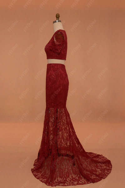 2 pieces burgundy lace mermaid prom dress with sleeves two piece pageant dress