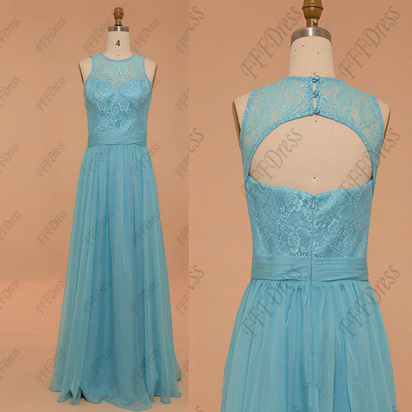 Lace Sky blue bridesmaid dresses long