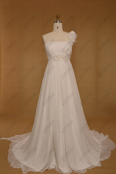 Flowers Chiffon Beach Wedding Dress Maternity Wedding Dress