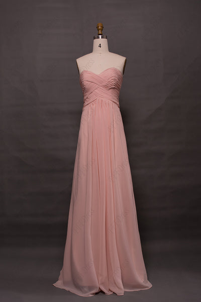 Pink Sweetheart Long Bridesmaid Dresses