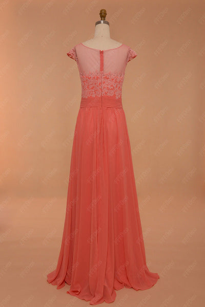 Modest Cap Sleeves Coral Bridesmaid Dresses Long