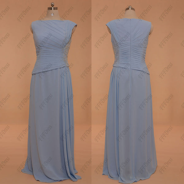 Ice blue modest bridesmaid dresses