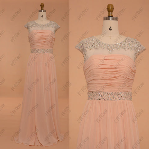 Sparkly peach bridesmaid dresses maid of honor dress