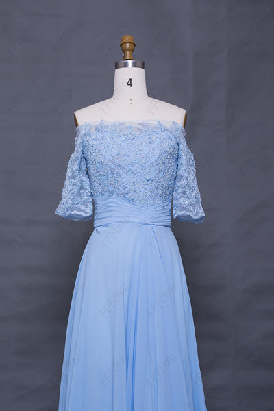 Light blue off the shoulder modest prom dress with sleeves