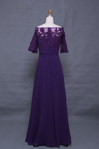 Off the shoulder beaded lace eggplant mother of the bride dresses with sleeves
