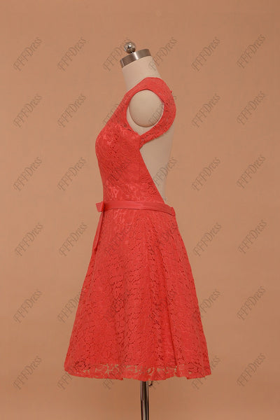 Coral lace backless prom dresses short