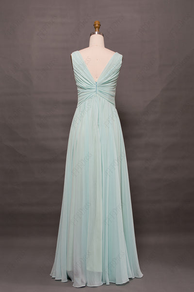 Light green long evening dresses V neck