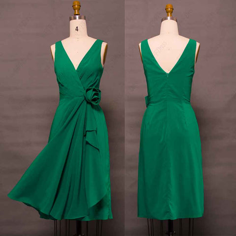 Emerald green short bridesmaid dress knee length