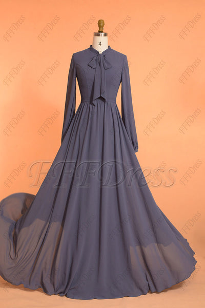 Modest Slate blue bridesmaid dresses long sleeves