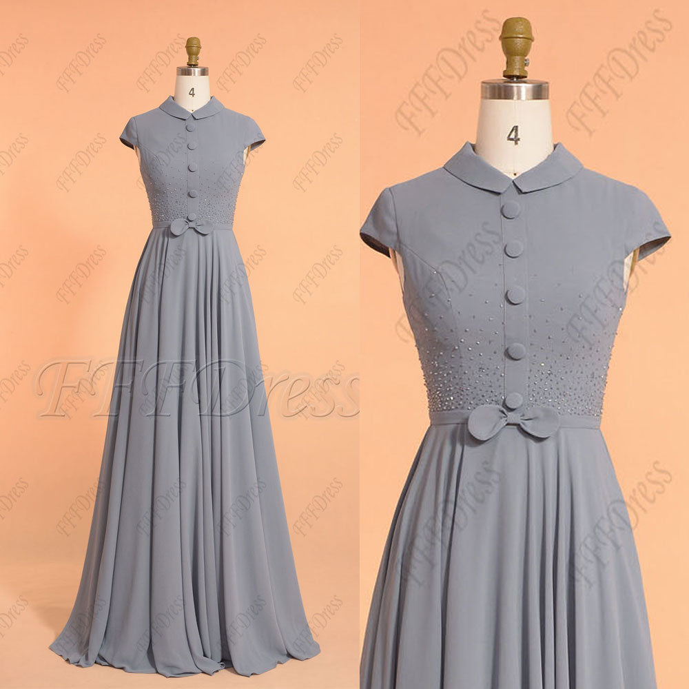 Beaded Modest Dusty Blue Bridesmaid Dresses Jewel Neckline