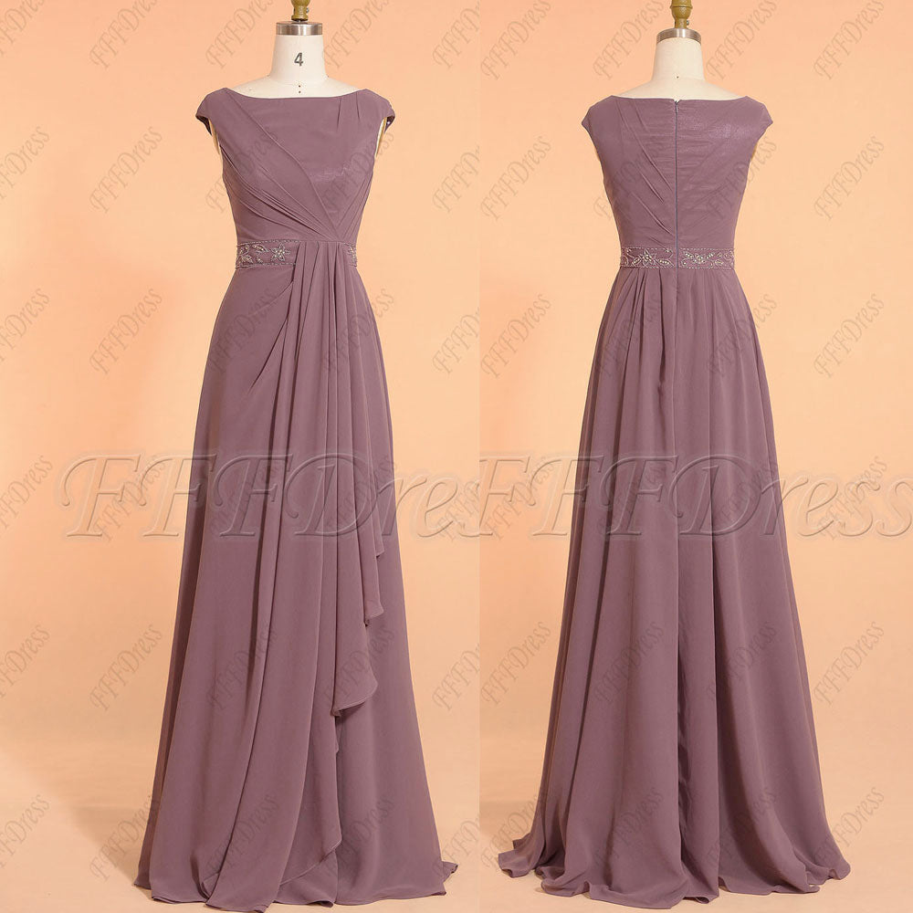 Dusty plum modest beaded bridesmaid dresses cap sleeves