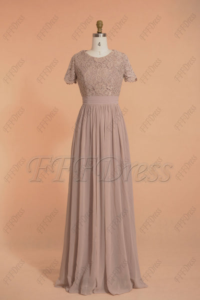 Modest rose mauve bridesmaid dresses with short sleeves