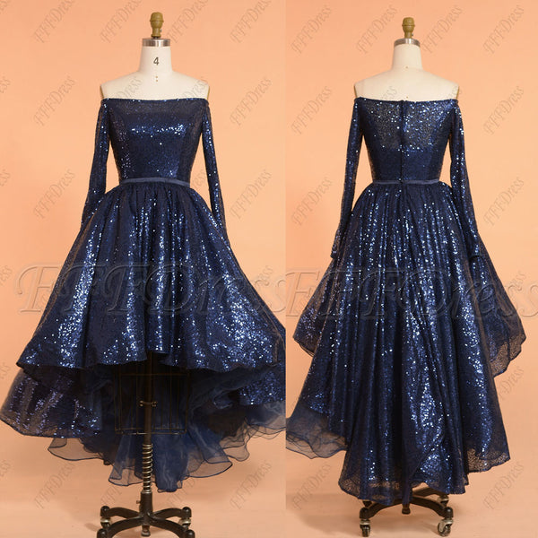 Sparkle navy blue high low prom dresses long sleeves