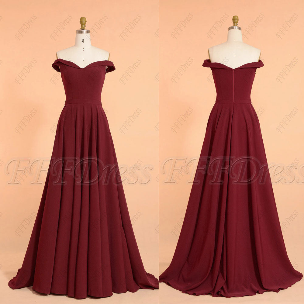 Burgundy Off the shoulder long prom dresses with pockets