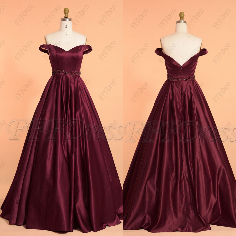 Burgundy off the shoulder ball gown beaded prom dresses long