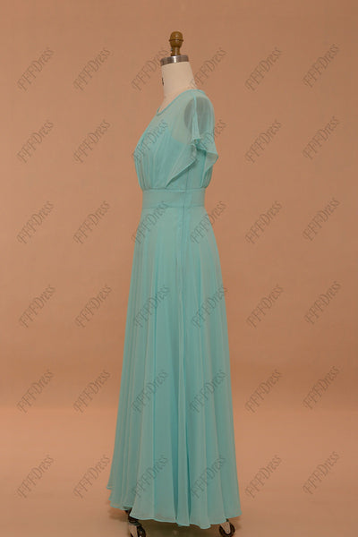 Light blue chiffon maxi dresses formal dresses