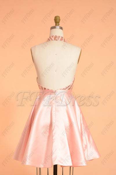 Pink backless sparkle sequin short prom dresses homecoming dresses