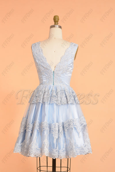 Light Blue Pretty Lace Short Prom Dresses