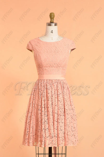 Light coral modest short bridesmaid dress cap sleeves with sash