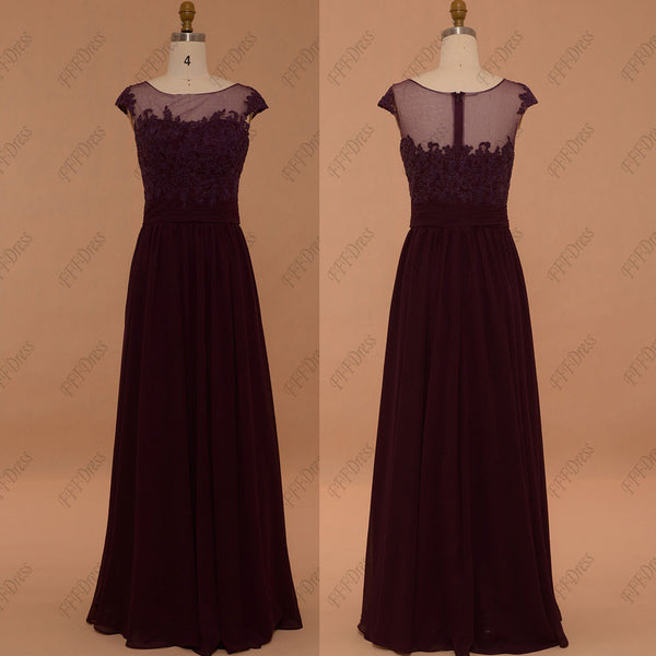 Plum bridesmaid dresses capped sleeves long