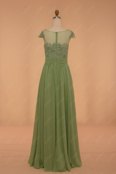 Sage green bridesmaid dress lace modest bridesmaid gown