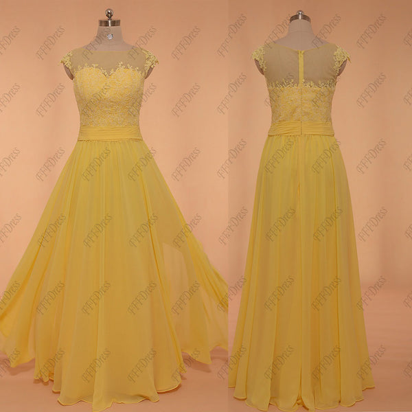 Yellow Modest Long Prom Dresses Plus Size