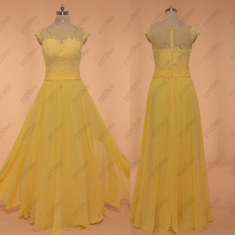 Yellow Modest Formal Dresses Long