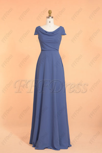 Royal blue modest bridesmaid dresses cap sleeves