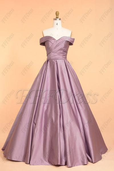 Dusty lavender off the shoulder vintage long prom dresses ballgown