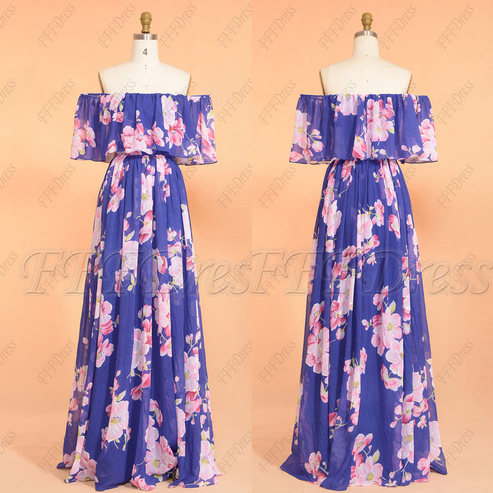 Royal blue floral boho bridesmaid dresses off the shoulder