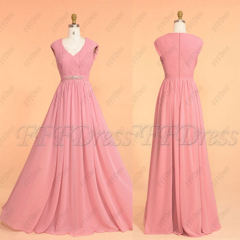 Pencil eraser pink modest bridesmaid dresses beaded long