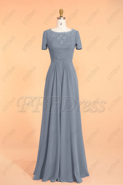modest dusty blue bridesmaid gown with sleeves