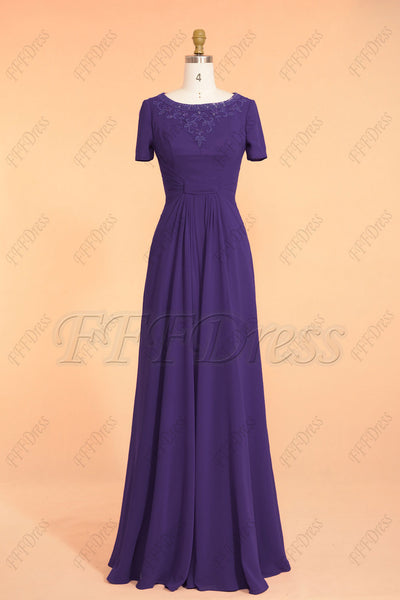 Dark purple modest beaded prom dresses short sleeves maid of honor dresses