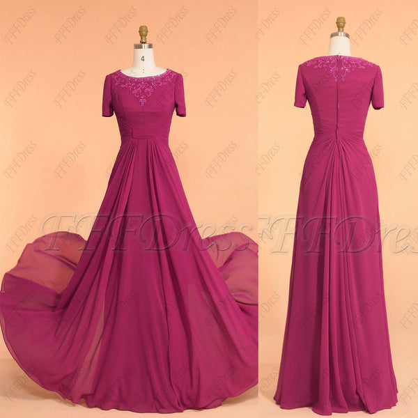 Magenta modest mother of the bride dresses with sleeves