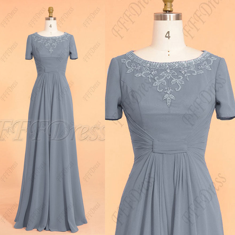 a909f2cfd3096 Dusty blue modest bridesmaid dresses with sleeves maid of honor dresses –  MyPromDress