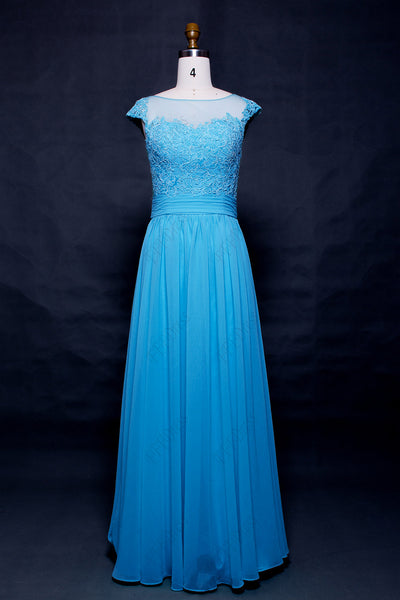 Modest Sky blue prom dresses long Cap sleeves