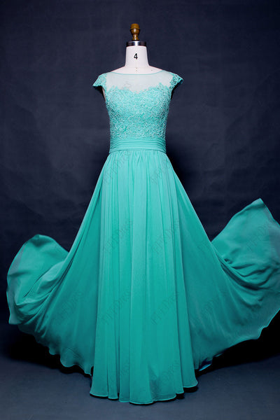 Modest long mint green prom dresses cap sleeves