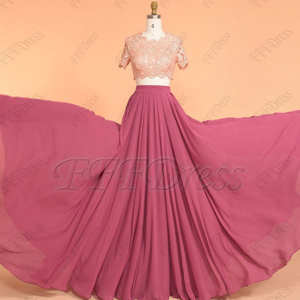 Two piece Peach and berry mix and match prom dresses with sleeves