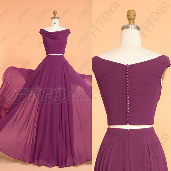 Merlot Color Boho Two Piece Bridesmaid Dresses Long